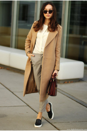 coat - shoes - bag - blouse - pants