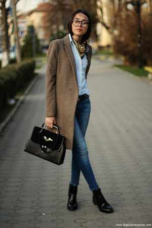 boots - coat - jeans - shirt - bag