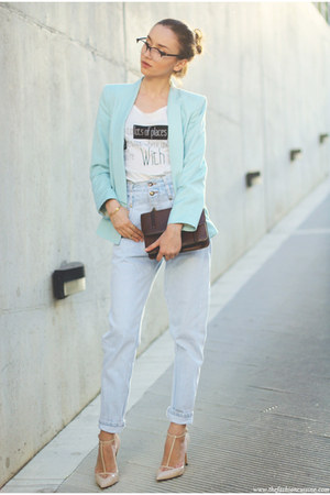 blazer - shoes - jeans - bag - t-shirt