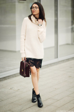 shoes - dress - sweater - bag
