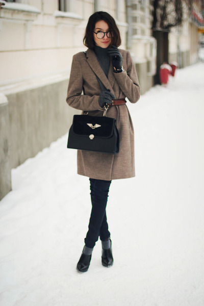coat - boots - sweater