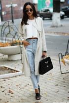 coat - jeans - bag - sandals - top