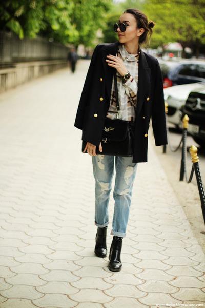 shirt - shoes - jeans - blazer - bag - watch