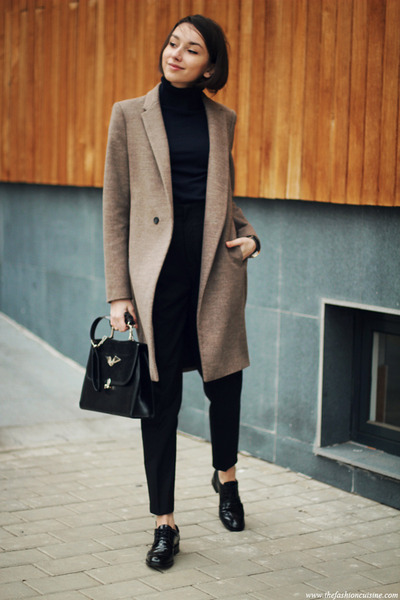 coat - sweater - bag - loafers - pants