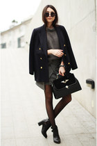 bag - boots - sweater - blazer - skirt