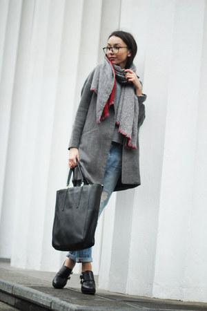 Mango coat - Zara jeans - Sisley scarf