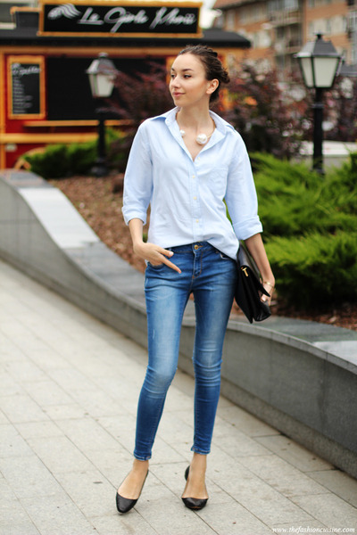 necklace - jeans - shirt - bag - flats