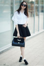 Shirt-bag-skirt-loafers