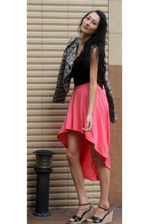 salmon asymmetrical NET FASHION skirt