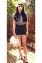 vintage sunglasses - pop boutique shirt - H&M bag - Topshop shorts