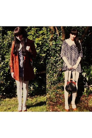 mac coat H&M coat - vintage 1960s dress - vintage 1950s bag - asos heels