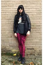 vintage 80s t-shirt - resurrection jacket - MinkPink leggings - H&M sunglasses