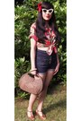 Red-vintage-90s-shirt-brown-h-m-bag-navy-topshop-shorts