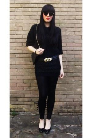 black vintage 1980s sweater - black black American Apparel leggings