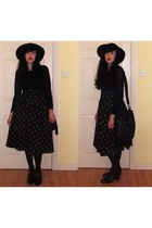 black Topshop boots - black H&M hat - black H&M sweater - black asos bag