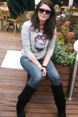 black Zara boots - blue Only jeans - silver Stradivarius t-shirt - silver Mango