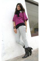 purple Mango blouse - black Bershka top - white Wrangler jeans - black hm scarf