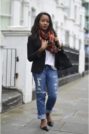 Zara scarf - J Crew jeans - longchamp bag - Zara flats - madewell blouse