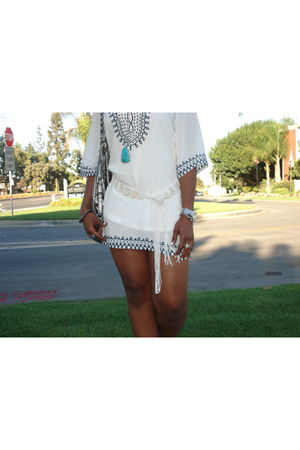 white Soho dress - blue Forever 21 necklace - silver Guess