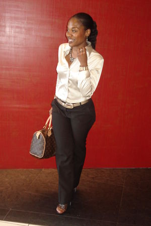 gold new york & co blouse - gold new york & co belt - brown new york & co pants