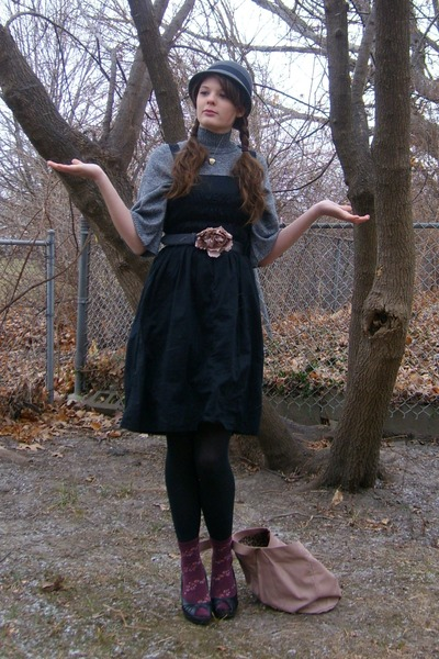 black Gap dress - heather gray thrifted shirt - black xhilaration shoes - maroon