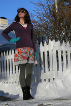 black xhilaration boots - light blue modcloth dress - deep purple Old Navy sweat