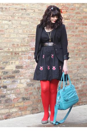 black Forever 21 shoes - black eShakti dress - black H&M blazer