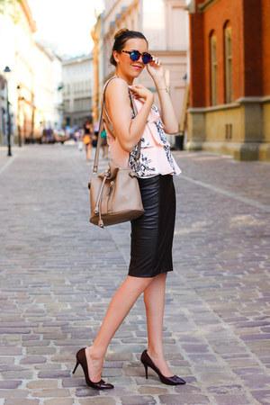 Zara bag - Zara glasses - Zara skirt - Zara top - Hugo Boss pumps