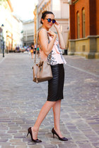 Zara bag - Zara glasses - Zara skirt - Zara top - Hugo Boss pumps