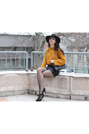 fedora asos hat - mustard zaful sweater - faux leather c&a skirt