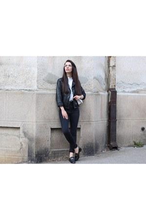 vintage vintage flats - crossbody Carpisa bag - high waisted H&M pants