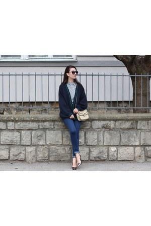vintage vintage cardigan - skinny jeans Zara jeans - crossbody Mango bag