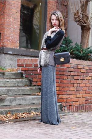 heather gray faux fur knit Zara vest - dark brown vintage leather Celine bag