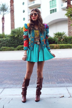 teal Tunnel Vision jacket - tawny Pink & Pepper boots