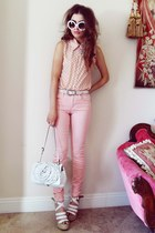 pink Yes Style blouse - white flower bag Valentino bag - pink Joes Jeans pants