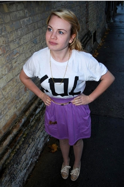 purple American Apparel skirt - white KOL 2009 tour shirt shirt - beige nanette