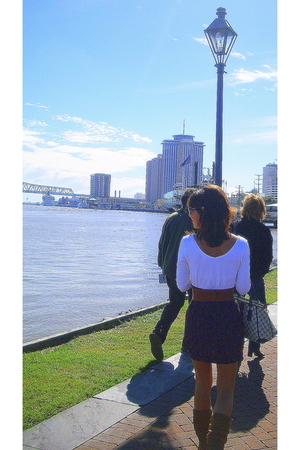 American Apparel shirt - DIY skirt -  boots - Gucci purse