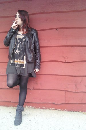 dark brown faux leather jacket