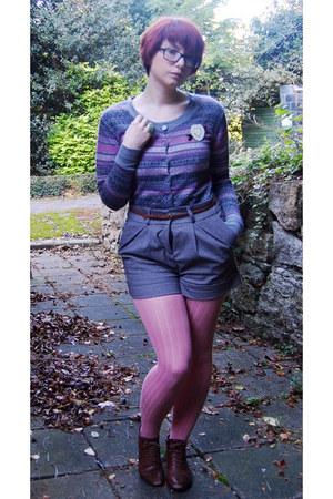 silver Primark cardigan - bubble gum Topshop tights - silver Vero Moda shorts