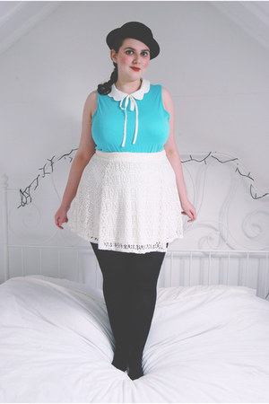 black bowler hat Ebay hat - aquamarine bow Primark top