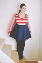 red striped Primark sweater - navy denim Topshop skirt