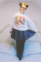 navy sequined Topshop skirt - white unicorn meadham kirchhoff sweater
