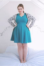 turquoise blue jersey Dorothy Perkins dress - heather gray bow tesco cardigan