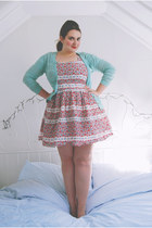 bubble gum floral Dorothy Perkins dress - aquamarine crochet Primark cardigan