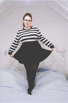black skater Topshop skirt - white striped JWAnderson for Topshop sweater