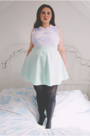 aquamarine skater Topshop skirt - light blue floral Erdem for Topshop top