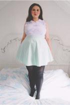 aquamarine skater Topshop skirt - light blue floral Erdem for Topshop top
