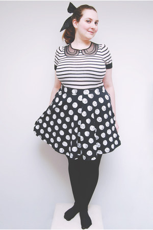 black striped next sweater - white spot Topshop skirt