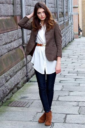 brown vintage jacket - ivory River Island blouse