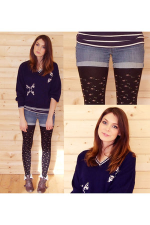 new look shoes - navy jack wills t-shirt - Beyond Retro jumper
